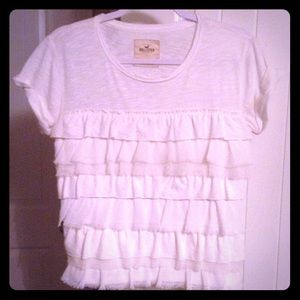 White Hollister T with Chiffon ruffles size M